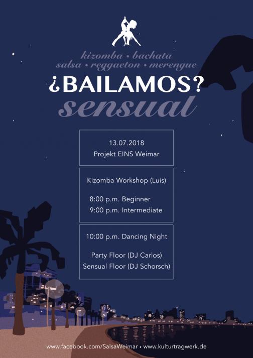 ¿Bailamos? Sensual - mit Kizomba-Workshops, 20 Uhr Anfänger, 21 Uhr Fortgeschrittene, ab 22 Uhr Party auf zwei Floors