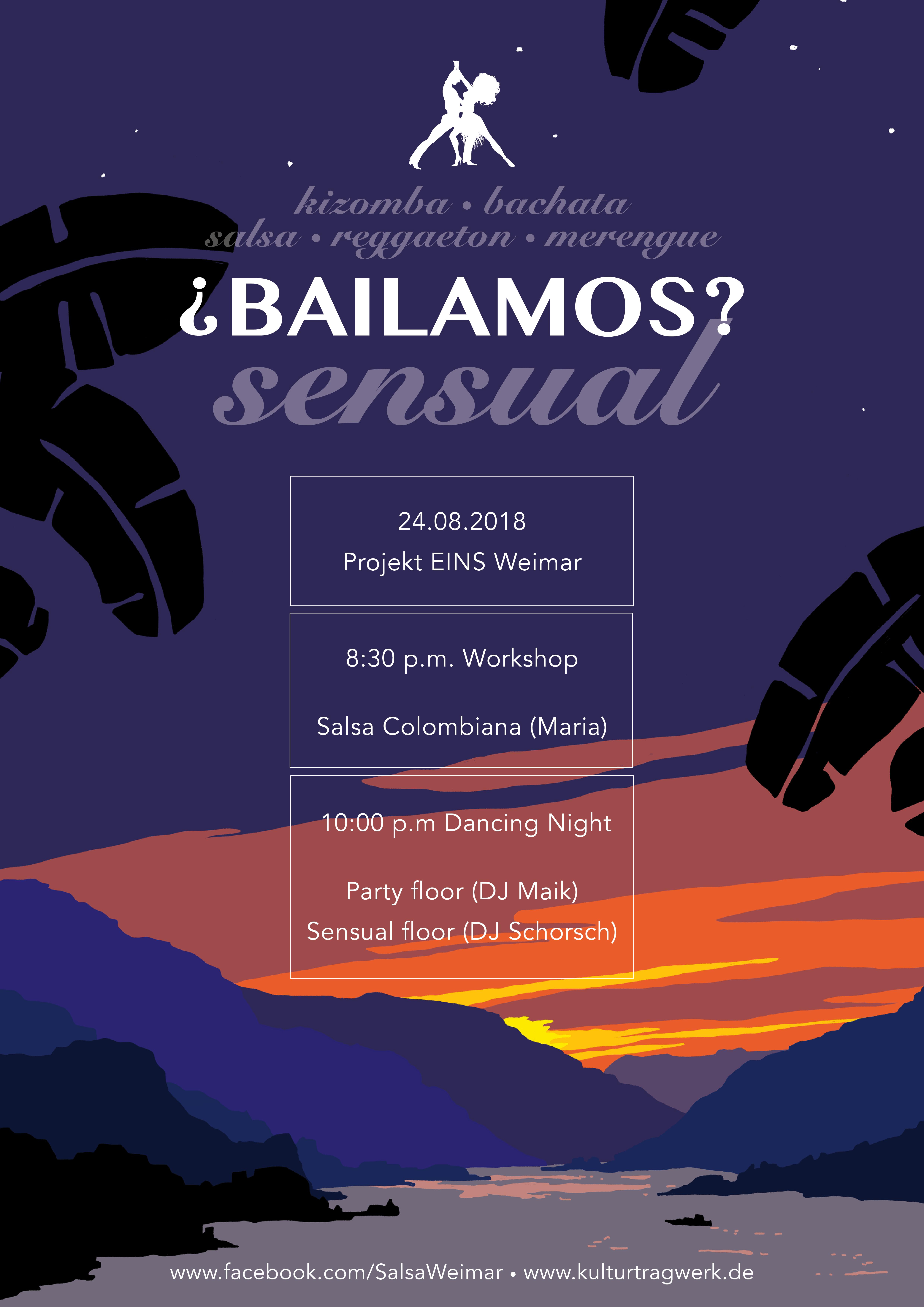 Am 24. August 20 Uhr 30 ist Salsa Colombiana Workshop und 22 Uhr Party auf zwei Floors mit Salsa, Bachata und Kizomba